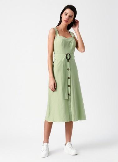 Random Askılı Önden Düğmeli Midi Elbise Yeşil